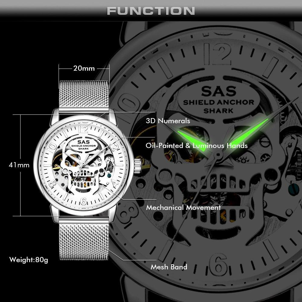 Sas Shield Anchor Shark Sport Mens Watches Top Brand Luxury Skeleton Skull Design Gold Mechanical Watches Mesh Band Bracelets