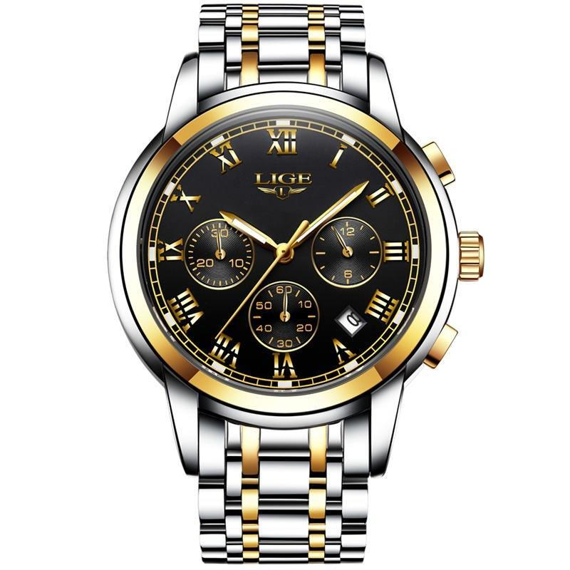 LIGE  Mens Fashion Sport Quartz Watch