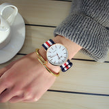 Quartz Casual watch large dial with colour nylon strap - Unisex - 40mm Dial