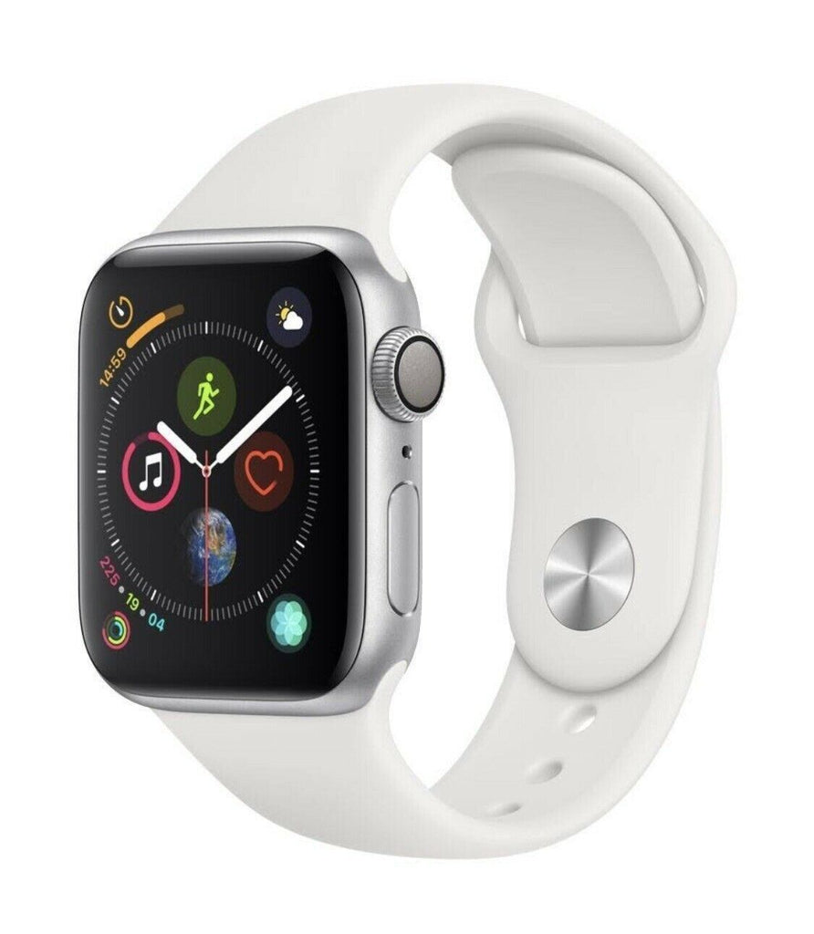 APPLE WATCH SERIES 4 44MM SILVER ALUMINUM WHITE SPORTS BAND (GPS+CELL) A 2008