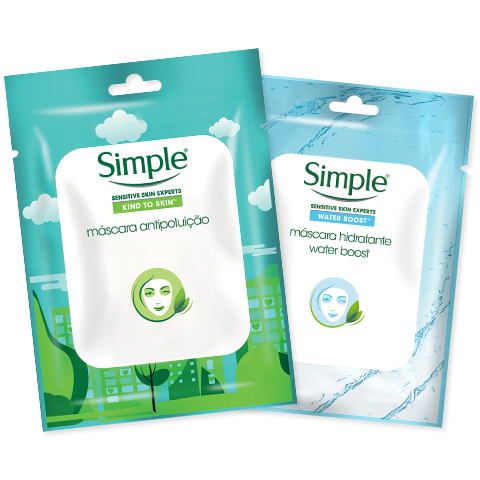 Simple pack máscaras faciais antipoluição e hidratante water boost