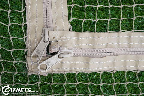 Complete Wall Net with L-Zipper (3.5m x 3.5m Netting) - Stone - Catnetsuk
