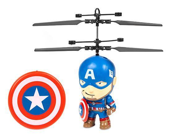 Marvel Licensed Captain America 3.5 Inch Flying Figure IR UFO Big Head Helicopter Toys World Tech Toys