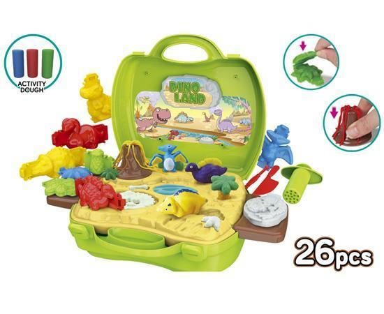 World Tech Toys Activity Dough Dinosaur 26 Piece Suitcase Playset Toys World Tech Toys