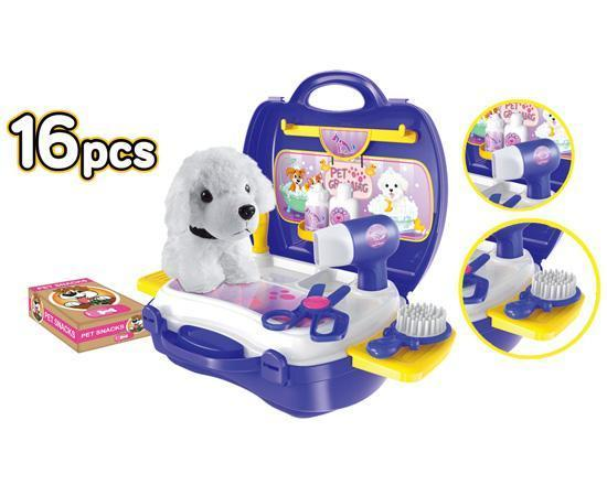 World Tech Toys Pet Grooming 16 Piece Suitcase Playset Toys World Tech Toys