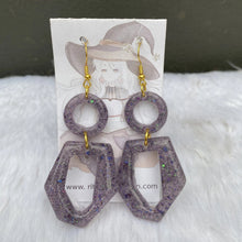 Load image into Gallery viewer, Geometric Circle Oblong Earrings - Purple