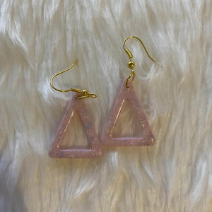 Geometric Triangle Earrings - Pink