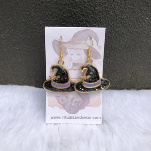 Witch Hat & Bat Earrings - Black