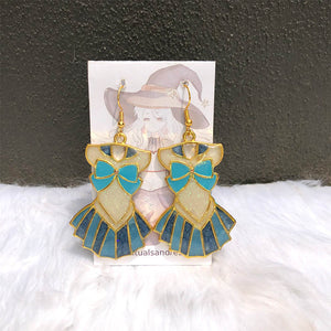 Magical Girl Dress Earrings - Blue