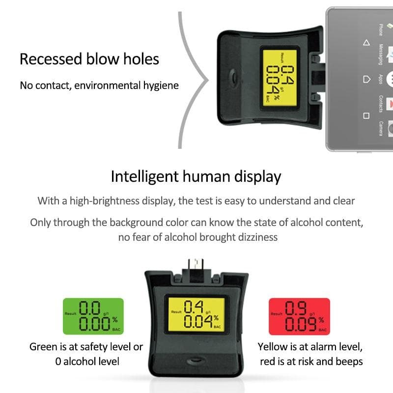 Phone Compatible Professional Digital Breathalyzer Device for Alcohol Detection : Gas Analyzers - Gadgets 4 EZ Life