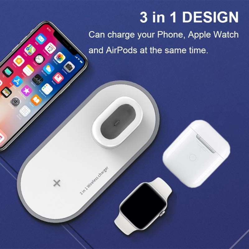 3-in-1 Mobile Phone Watch Headphone Chargers Wireless Charging Adapter Holder : Mobile Phone Chargers - Gadgets 4 EZ Life