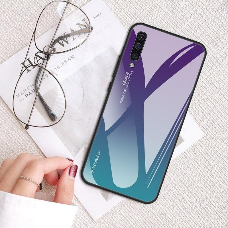 Gradient Tempered Glass Hard Back Case Cover For Samsung Galaxy A7 A5 A6 A8 A9 : Fitted Cases - Gadgets 4 EZ Life