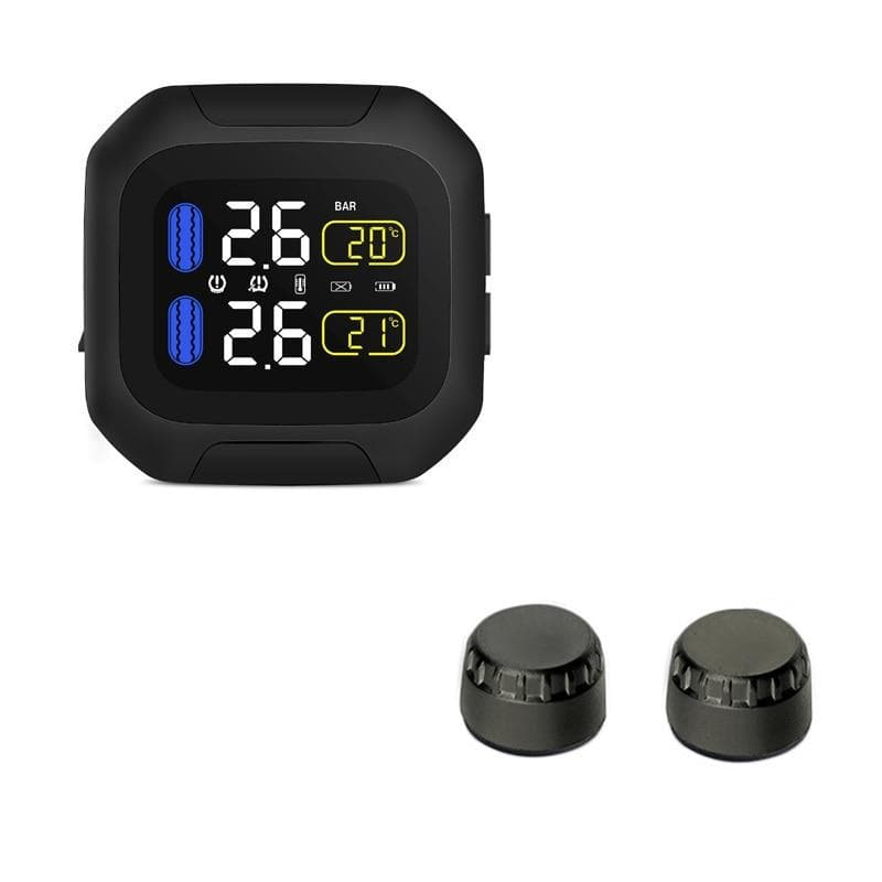 Motorcycle TPMS LCD Display Wireless Tire Pressure Monitoring System USB Powered : Tire Pressure Alarm - Gadgets 4 EZ Life