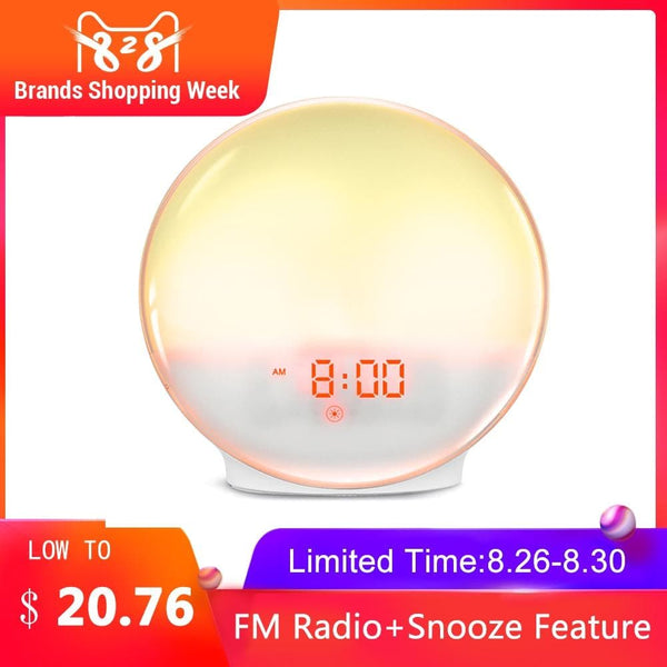 Wake Up Light Clock Kids Child Toddler Adults 7 Color Changing Alarm Clock Decor : Alarm Clocks - Gadgets 4 EZ Life