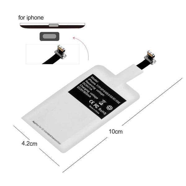 Qi Wireless Charger Adapter Charging Receiver For iPhone Samsung Andriod Type-C : Mobile Phone Chargers - Gadgets 4 EZ Life