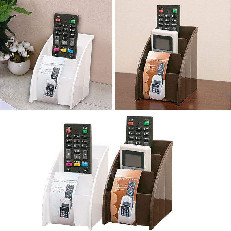 Plastic White/Brown Remote Control And Phone Storage For Desktop : Storage Holders & Racks - Gadgets 4 EZ Life