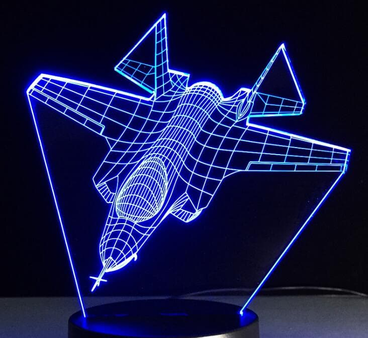 Air Plane 3D Light LED Table Lamp Illusion Night Light 7 Colors Remote & touch : Night Lights - Gadgets 4 EZ Life