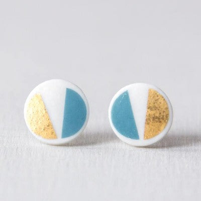 geometric COLOR&GOLD - oorstekertjes - turquoise/goud