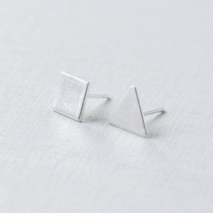 BASIC - oorbellen - triangle/square - 925zilver
