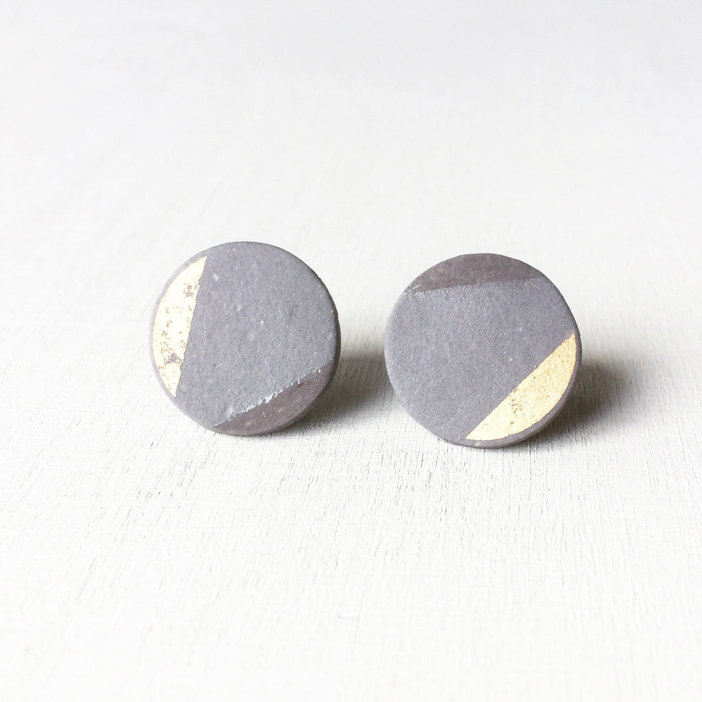 SOFT - oorstekertjes - double moon - warmgrey&gold  Ø12mm / 16mm