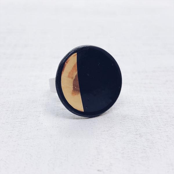 geometric BLACK.GOLD - ring - 1/2cirkel - Ø 20mm