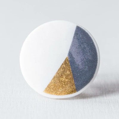 geometric COLOR&GOLD - ring - antraciet/goud