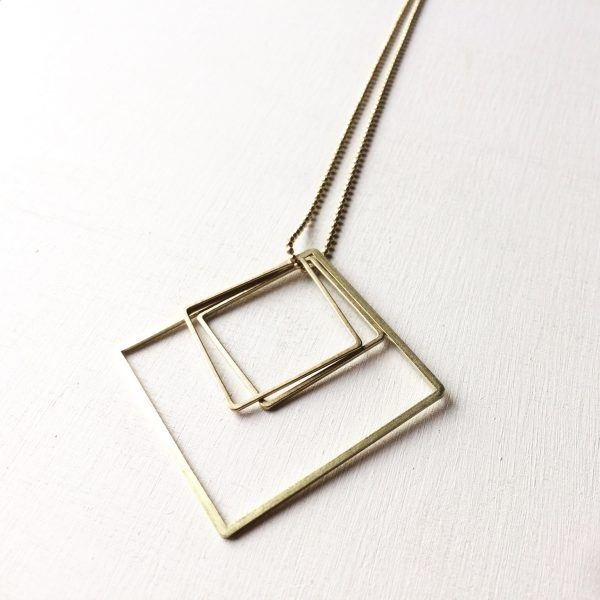 ° brass.LINE, halsketting * double square Gold