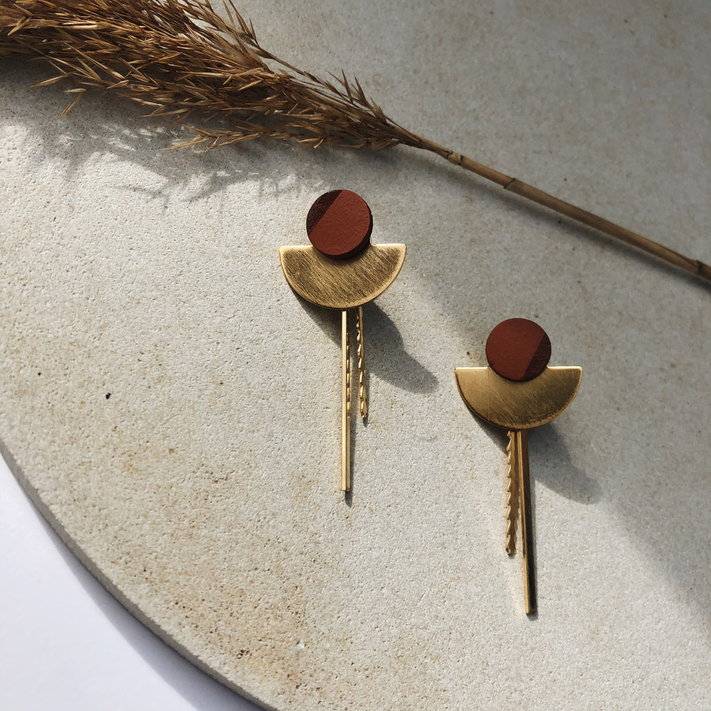 Elements and shapes -COMBINATIE / MOON.XL -  12mm TERRACOTTA - sluiting double bar