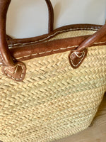 Leather Trim French Market Basket