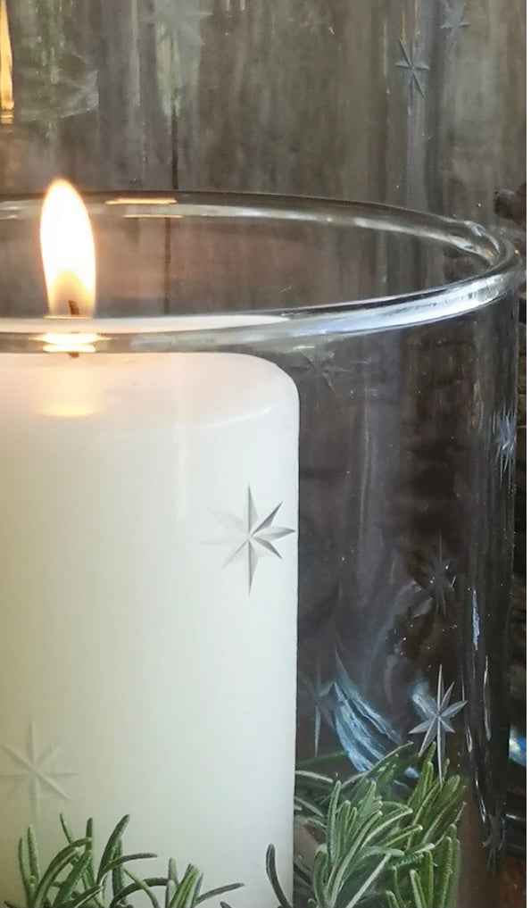Star Etched Glass Hurricane Lamp 3 SIZES