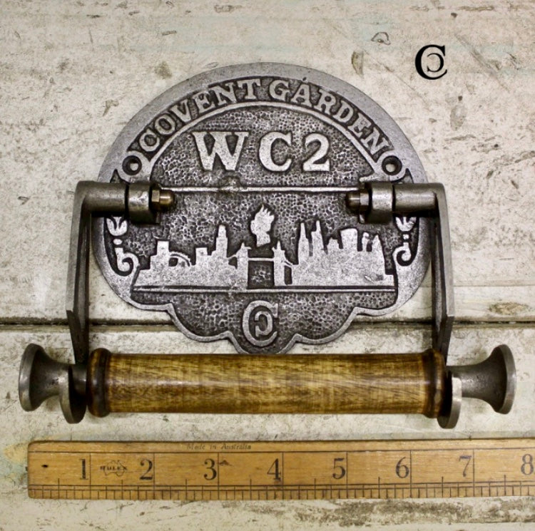 Antique Iron and Wood Toilet Roll Holder