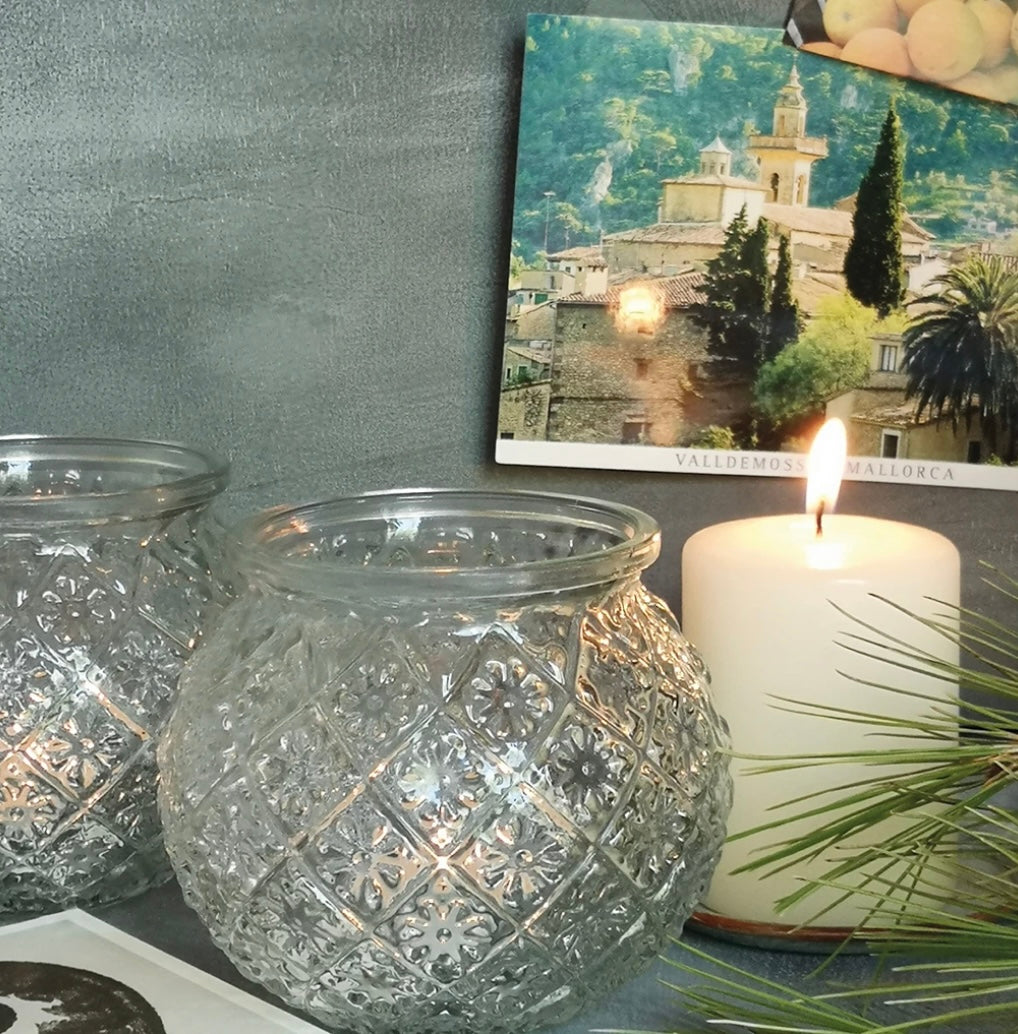 Embossed  Glass Tealight Holder