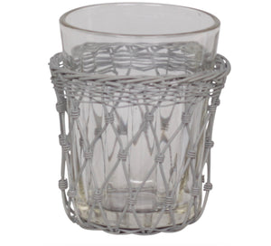 Old French Glass with Fil de Fer Holder