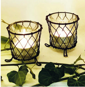 Wire Basket and Glass Tealight Holders 3 SIZES