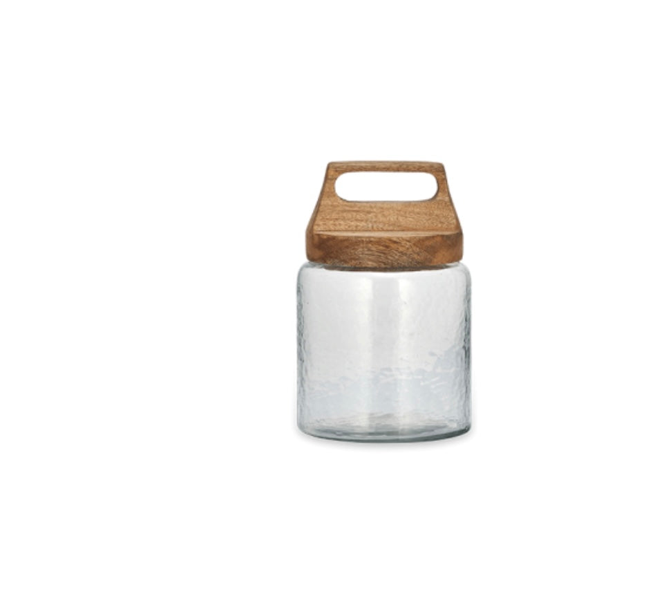 Glass and Wood Storage Jar