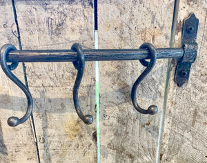 Antique Iron Sliding Hook Rail with 5 HOOKS