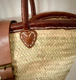 French Market Basket with Leather Trim & Buckle
