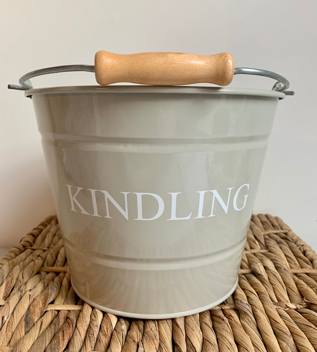 Painted Metal Small Kindling Bucket in 2 COLOURS