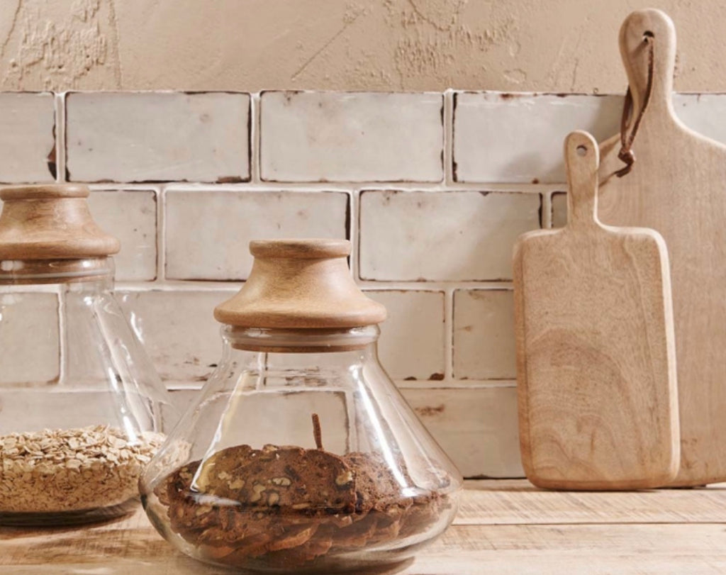 Glass and Mango Wood Storage Jars 2 SIZES