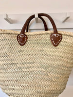 French Shopping Basket with Leather Handles