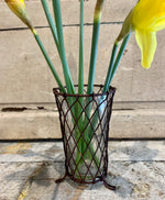 Wire Basket  and Glass Posy Holder