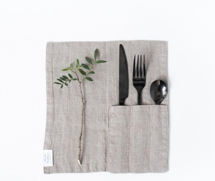 WHITE and NATURAL Linen Cutlery Pockets SET OF TWO