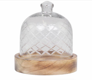 Glass Dome with Mango Wood Plate in 2 Sizes