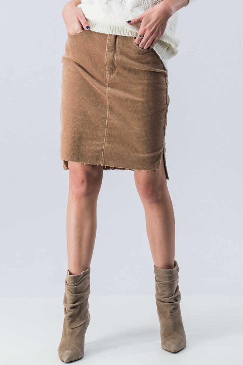 Heather Corduroy Knee Skirt