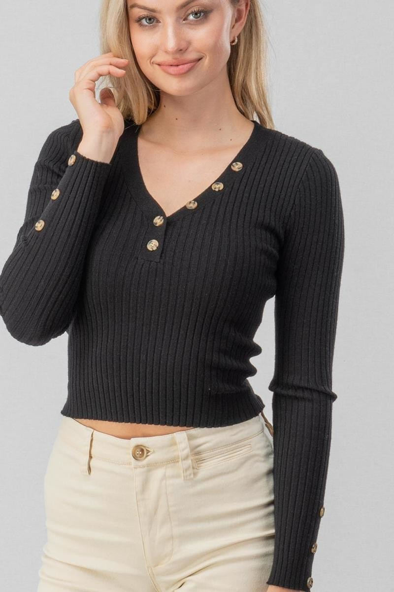 Blissful Button Crop Top