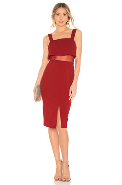 BCBGeneration Red Overlay Midi Dress