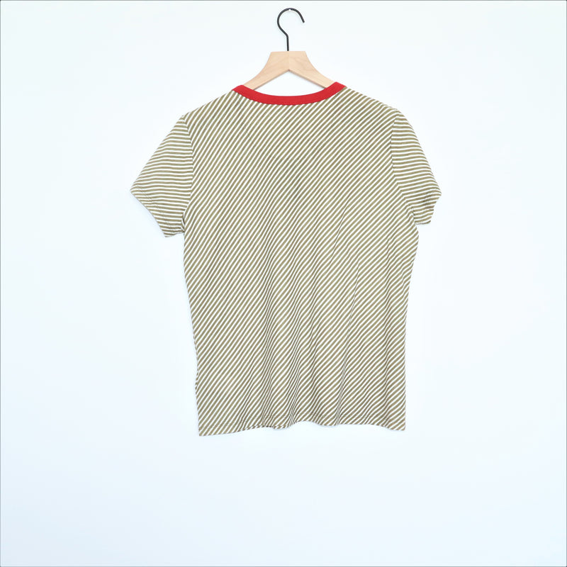 Lauren Ralph Lauren Green White Striped Top