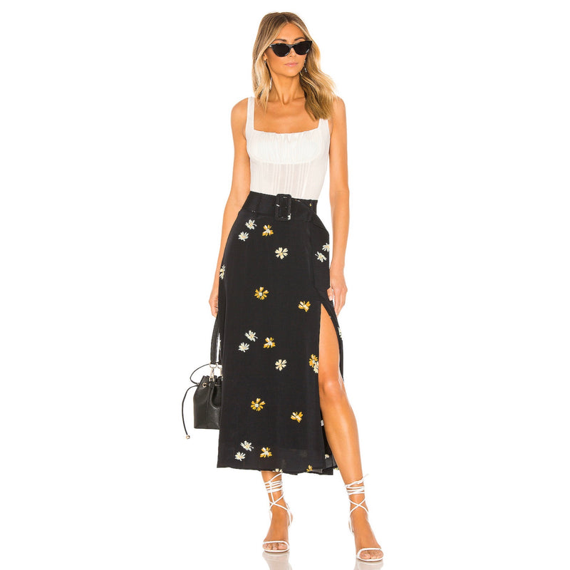 Capulet Devin Belted Skirt Black With Daisy Print