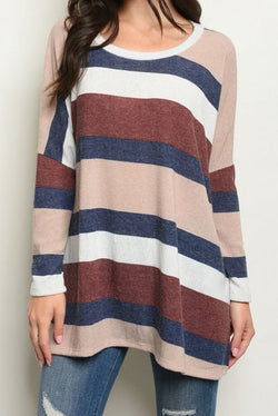 Stripes Scoop Neck Long Sleeve Tunic Top