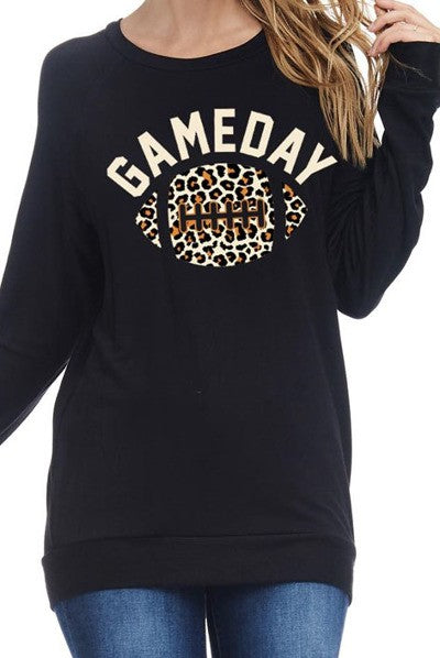 Leopard Game Day Graphic Top
